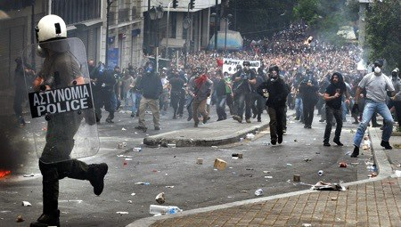 Greece now. The People want the banks and politicians to stop stealing their lives